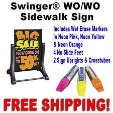 "24""W x 36""H Swinger Write On Wash Off Sidewalk Sign   Black"