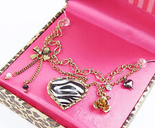 BETSEY JOHNSON Zebra Heart Pendant Rose Bow Charm Gold-Tone Necklace w/Gift Box