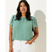 New Loft Womans Button Back Flutter Blouse Sz Medium Green Top NWT