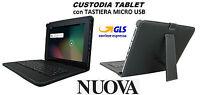 """Custodia Cover Stand per Tablet 8/9"""" Pollici UNIVERSALE con Tastiera Micro Usb"""