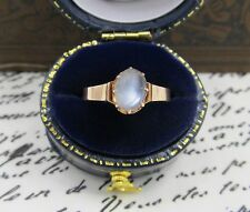 Antique Victorian Oval Moonstone Ring 14k Yellow Gold Art Nouveau Sz 5.75