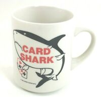 Vintage Card Shark Coffee Mug Cup Poker Gambling Ace Spade Diamond Club Heart