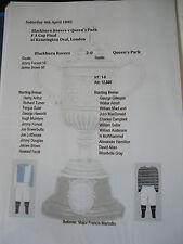 1885 FA Cup Final Blackburn Rovers v Queens Park matchsheet