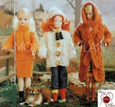 """VINTAGE Knitting Pattern Copy BARBIE SINDY DOLLS CLOTHES OUTDOOR OUTFITS 11-13"""""""