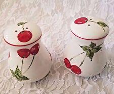 Salt Pepper Shakers White Porcelain Painted Cherries with Metal Serving Rack
