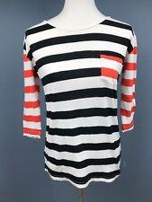 J.Crew women's size XS Black & Orange Striped Tee 3/4 Sleeve Shirt