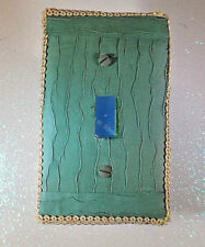 Handcrafted Khaki Wavy Paper Trimmed with Gold Single Light Switch Plate Decor