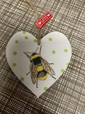 SHABBY CHIC Decoupage Wooden Hanging Heart 8cm Garden Bumble Bee Paper Gift