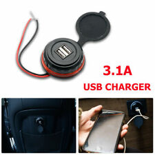Enchufe Cargador Doble USB para Coche con Toma de Mechero Adaptador 12V Blanco`