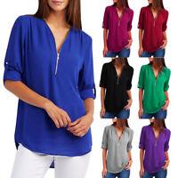 Fashion Women Ladies Casual T-Shirt Blouse Summer Loose Long Sleeve Top Shirt US