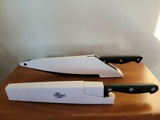 """Pampered Chef Set of 2 8"""" Self Sharpening Knives w/Cases:"""