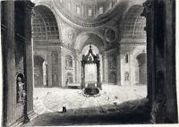 Rome INTERIOR SAINT PETER'S BASILICA DOME Architecture, 1843 Art Print Engraving