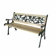 Wooden 3 Seater Garden Outdoor Park Bench With Cast Iron Legs Furniture Antique