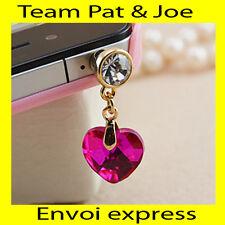 BIJOU CACHE POUSSIERE telephone portable pour PRISE JACK style Diamant  Fuschia
