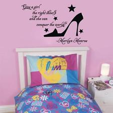 Art Decals Marilyn Monroe Quotes Sticker Wall Decor Girl's Room Crystal Shoes