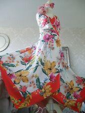 Monsoon New tags Hazel size 24 orange floral satin dress wedding occasion