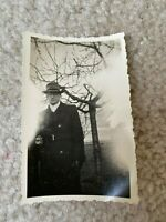 German Man Hat & Glasses Angel Ghost Image Overexposed Vintage Photograph