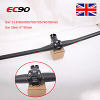 UK EC90 MTB Bike Handlebar Full Carbon Fiber Flat/Riser 31.8mm 6° 90mm Bar Stem