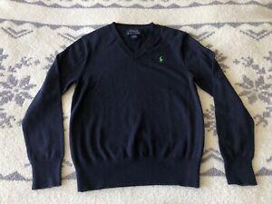 Polo Ralph Lauren V-neck Navy Blue Cotton Sweater Boys Med (10-12)