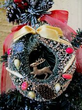 Vintage Bottlebrush Wreath&Fruit&Pine cone&Gold Plastic Reindeer Xmas Ornament