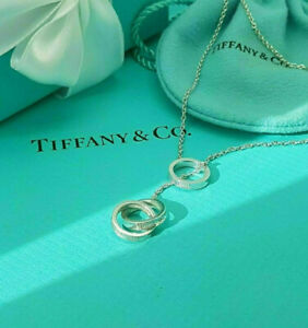 Tiffany & Co. RARE 1837 Sterling Silver 3 Interlocking Circles Lariat Necklace