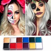 12 Colors Face Body Paint Oil Art Make Up with 6pcs Brush Halloween Paint Kit