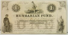 Antique 1852 $1 Dollar Hungarian Fund Obsolete Note
