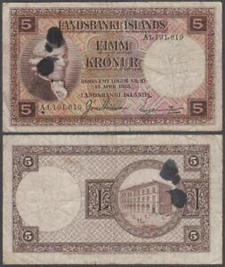 Iceland, 5 Kronur, L.1928, VF+ (dark ink stain), P-27(b)