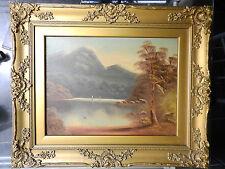 W. Collins, Dorado De Madera-Vintage Oleo sobre tabla Enmarcado-Escena De Montaña