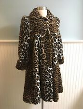 Size Small XS-S Women's Young Gallery Faux Fur Cheetah Print Coat Jacket VTG 90s