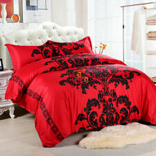 Red Floral Quilt Duvet Doona Covers Set Queen Size Bed Cover Bedding Pillow Case