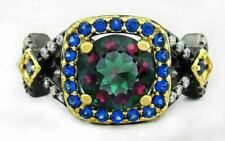 MYSTIC TOPAZ  2.02Cts, BLUe/ WHITE SAPPHIRE RING SILVER PLATED