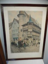 1892 ANTIQUE C. DELORI LE RACOLEUR FRAMED COLORED LITHOGRAPH FRENCH VILLAGE!