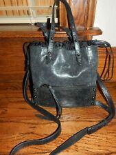 BOTKIER Crossbody Handbag Marbled Black Leather Drawstring w/ Double Handles!