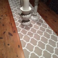 Table Runner, Last One! Indoor/Outdoor Weatherproof Canvas, Taupe and White