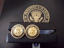 WHITE HOUSE CUFF LINKS 24K GOLD-PLATED PRESIDENTIAL VIP BLUE COBALT
