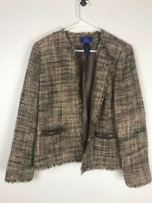 JH Collectibles Womens Blazer Size 14 Jacket Lined Fringe Hem Lines Career Woven