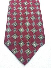 KENNETH COLE MENS TIE RED WITH BEIGE AND BLUE 4 X 60