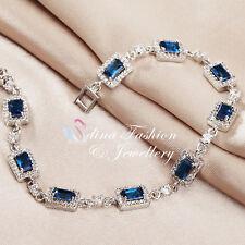 18K White Gold GF Made With Swarovski Crystal Rectangle Sapphire Tennis Bracelet