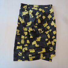 Cora Kemperman Designer Skirt Ruched Gathered Asymmetrical Black Green Side Zip