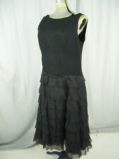 Vtg 60-70s Black Sleeveless Flapper Style Crepe Tiered Dress-Bust 39/M