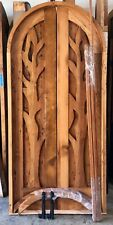 Rustic reclaimed lumber arched double door solid wood hand carved pre hung TREE