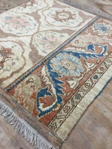 Old Used Antique  Handmade Wool Rug Carpet, Shabby Chic,Size:3.5 By3.4 Ft