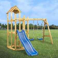vidaXL Parque Infantil Tobogán Columpios y Escalera Casa de Juego de Jardín