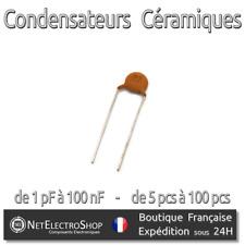 Condensateur céramique 50V - 50 valeurs au choix de 1pF à 100nF - de 5 à 100pcs