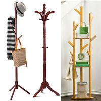 Wooden Standing High-Grade Hat Coat Rack Jacket Bag Hanger Tree Hanging Stand US