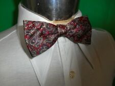 Vintage Red Brown Paisley Adjustable Polyester Bow Tie Steampunk Prom Formal