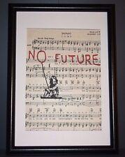 VINTAGE antico musica libro pagina parete Pop art print Picture-Bansky NESSUN FUTURO