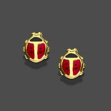 Marienkäfer rot Mädchen Ohrstecker Kinder Ohrringe aus Echt Gold 333 (8 Kt) Neu