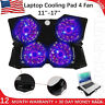 "Laptop Cooling Pad 12""-17"" Cooler Pad Chill Mat 4 Quiet Fans LED Light FREE SHIP"